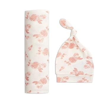 Nursing Cover Car Seat Cover Newborn Infant Toddler Receiving Blanket Pink Baby Swaddle Blanket and Hat set