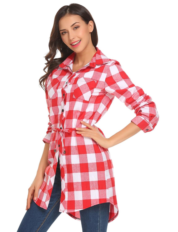 6c0c995e66 HOTOUCH Femme Chemise à Carreaux Chemisier Long à Manches Longues  Rouge+Blanc XL: Amazon.fr: Vêtements et accessoires