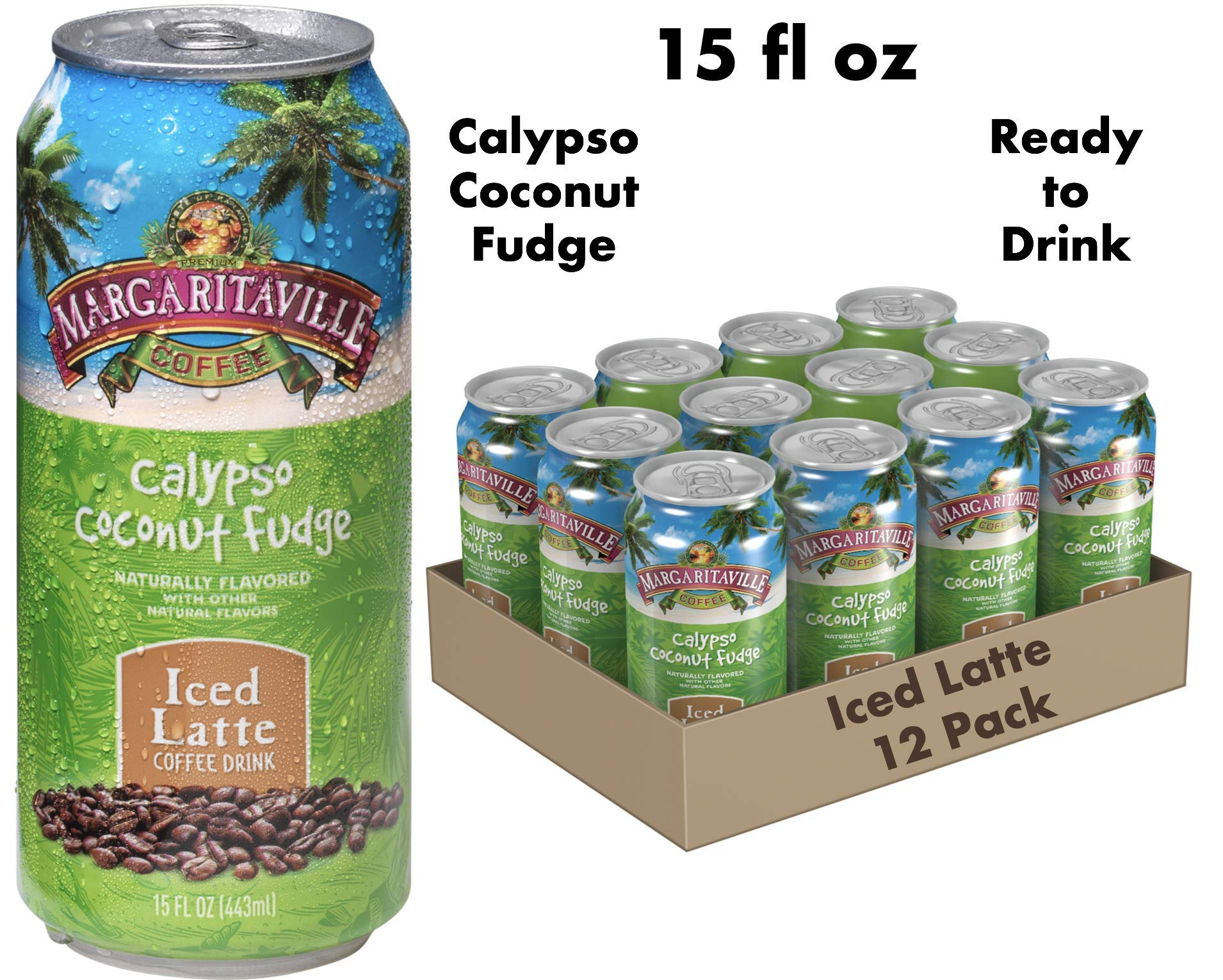 Margaritaville Coffee Pre-Made Calypso Coconut Fudge Latte, Ready to Drink, 15 oz (Pack of 12)