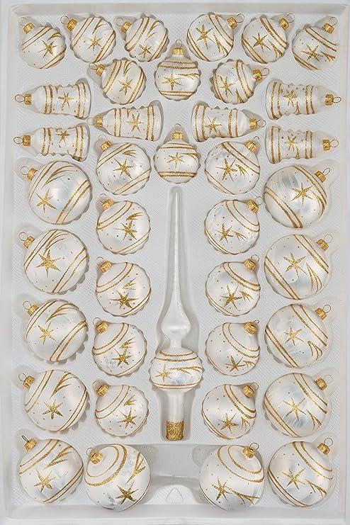 Einzelne Christbaumkugeln.39 Tlg Glas Weihnachtskugeln Set In Ice Weiss Gold Komet Christbaumkugeln Weihnachtsschmuck Christbaumschmuck