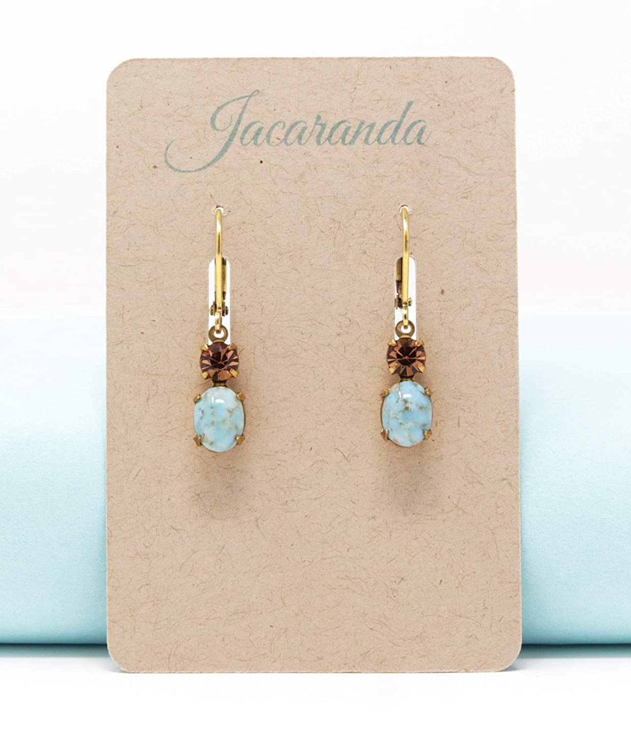 Turquoise and Amber Vintage Jewel Drop Earrings