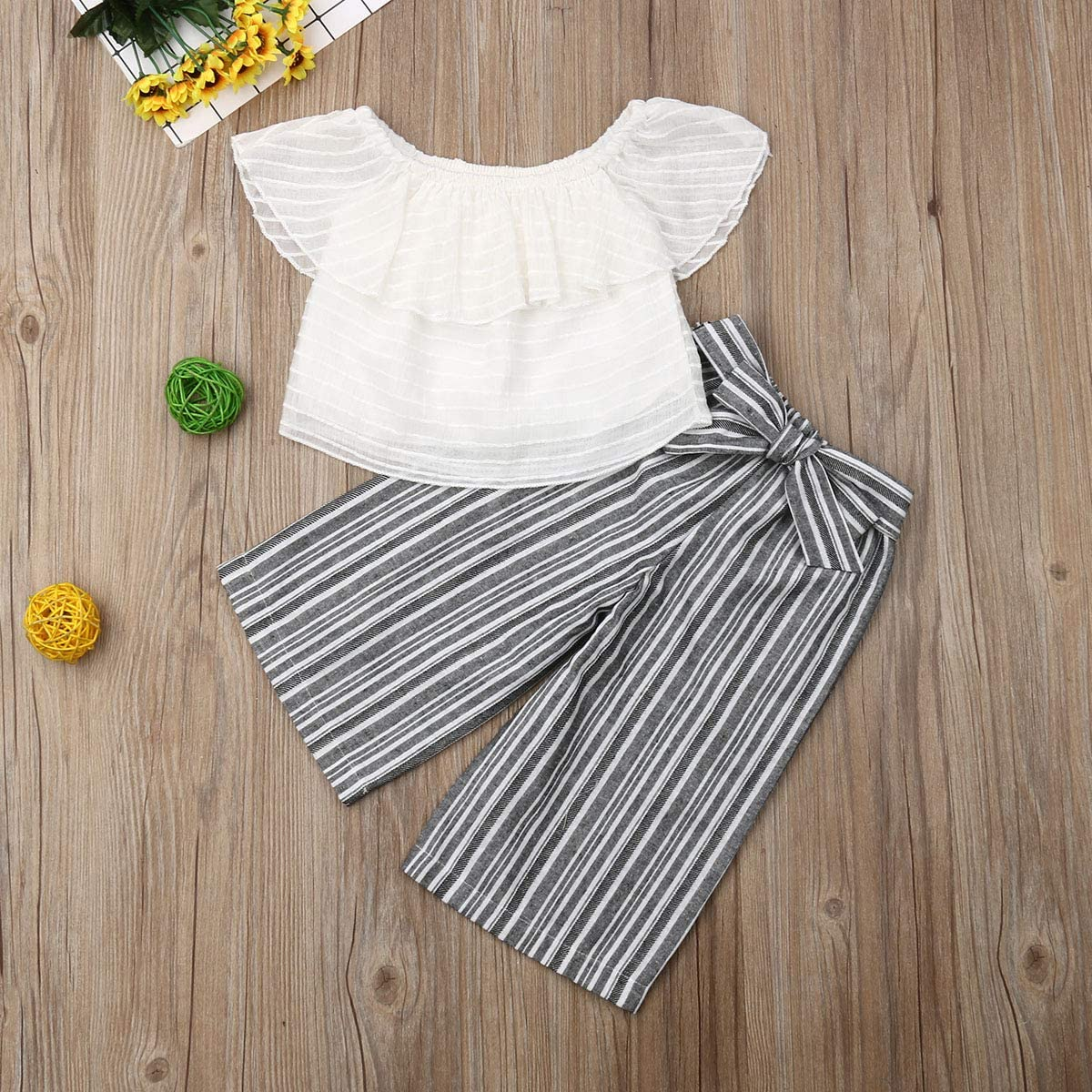 Lace Floral Long Skirt Outfit Set Summer Clothes Toddler Baby Girl White Off Shoulder Ruffle Sleeve Top