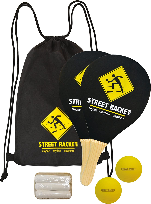 Juego de Raquetas Street Racket, 2 Raquetas de Madera, 2 Pelotas de Softball, Marcador de Calle para Marcar el Campo de Juego, en una Bolsa