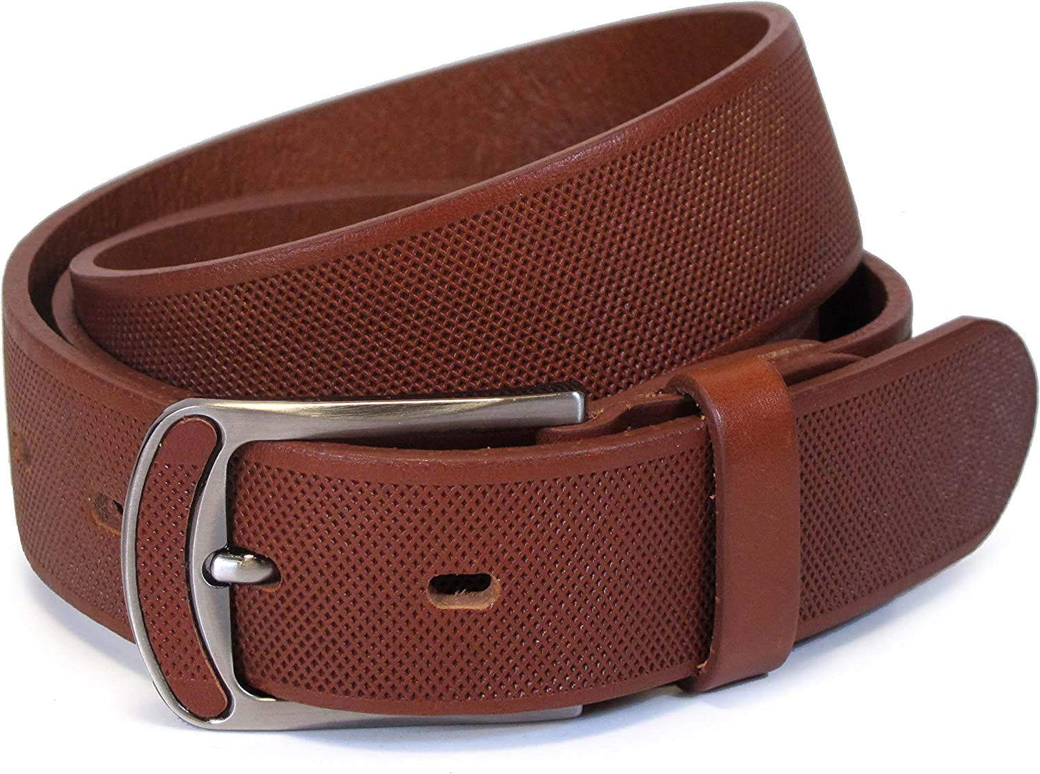 UM3 Mens Real Genuine Leather Tan Brown Belt 1.25 Wide S-L Thick Casual Jeans