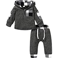 Kids Toddler Infant Baby Boys Girls Winter Outfit Christmas Plaid Hoodie Sweatshirt Jackets Shirt+Pants Xmas Clothes Set