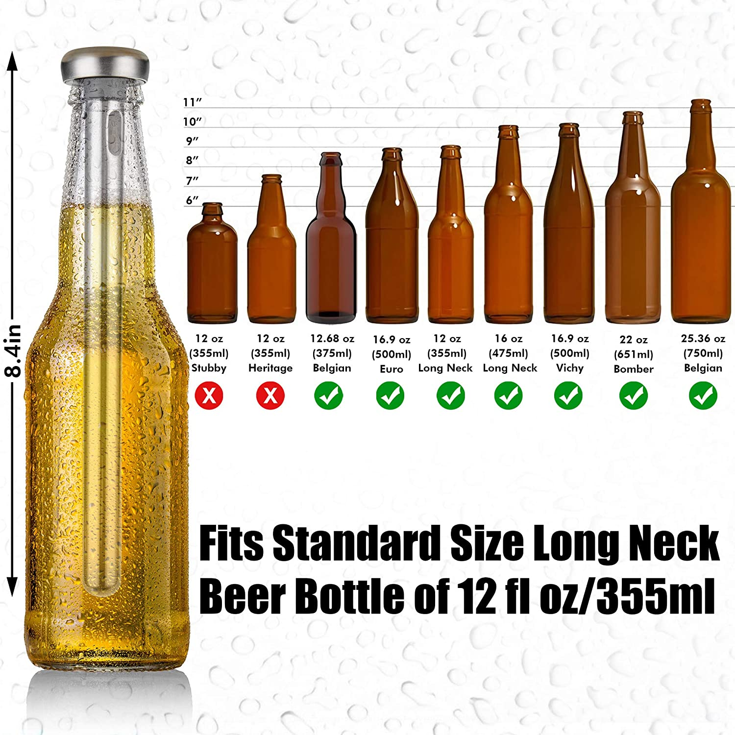 Beer Chiller Sticks for Bottles Beer Accessories Beer Cooler featuring 2 Beer Chilling Sticks and 1 Bottle Opener in an Eco Friendly Wooden Gift Box Beer Stick by woondulla Beer Gifts for Men