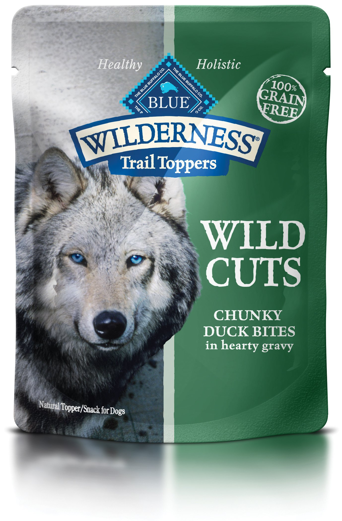 Blue Buffalo Wilderness Trail Toppers Wild Cuts High Protein Grain Free, Natural Wet Dog Food, Chunky Duck Bites In Hearty Gravy 3-Oz Pouch (Pack Of 24) by Blue Buffalo