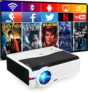 """6200LM WiFi Bluetooth Projector Wireless HD Movies Projector 1080P LED Home Theater Projector 200"""" Display Compatible with Smartphone, Laptop, HDMI, USB, VGA, TV Stick, PS4 for Outdoor Entertainment"""