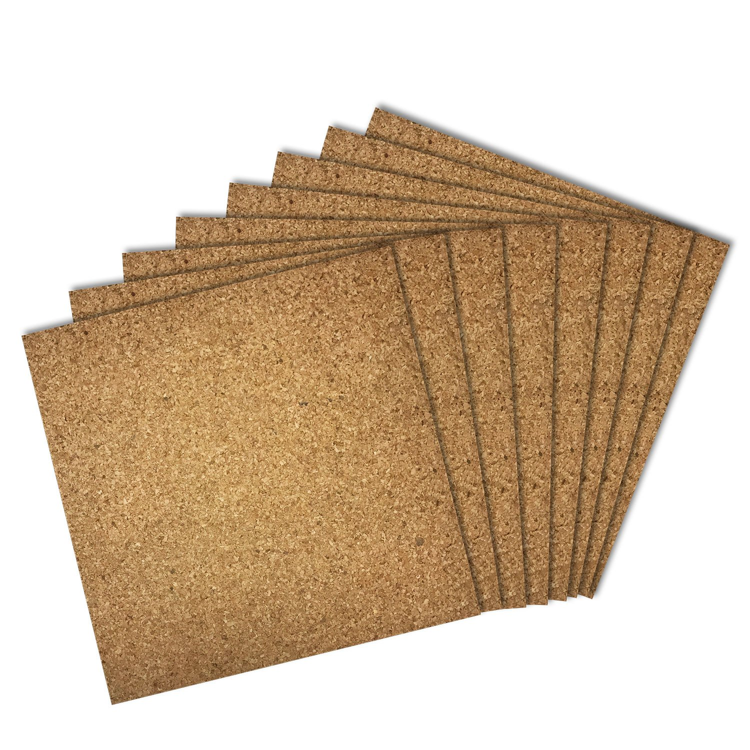Thornton's Office Supplies Cork Bulletin Board Tiles, Natural, 12 Inch x 12 Inch, Frameless (24 Pack)
