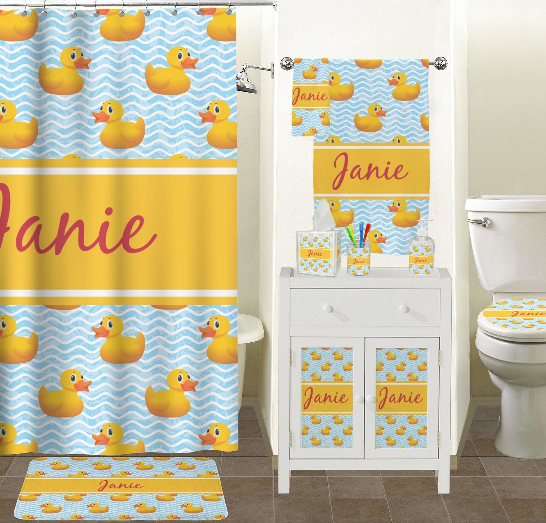 Rubber ducky bathroom accessories - Amazon Com Rubber Duckie Bathroom Accessories Set Personalized Home Kitchen