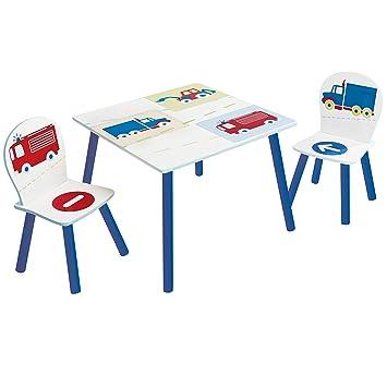 Hello Home Vehículos, Conjunto Infantil de Mesa y Dos sillas , Madera, Blanco, 63 x 63 x 52 cm