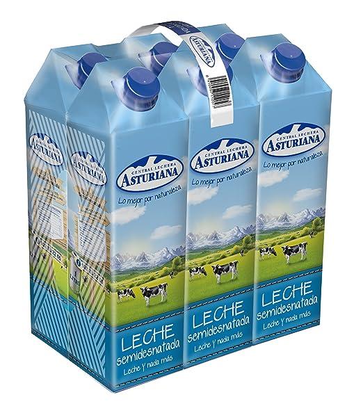 Central Lechera Asturiana - Leche Semidesnatada Brik 1L (Pack 6)
