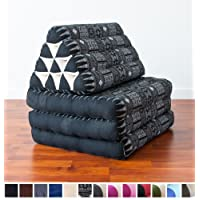 Foldout Triangle Thai Cushion, 67x21x3 inches, Kapok Fabric, Blue