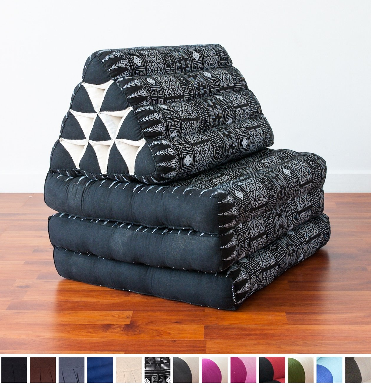 Leewadee Foldout Triangle Thai Cushion, 67x21x3 inches, Kapok Fabric, Black, Premium Double Stitched by Leewadee