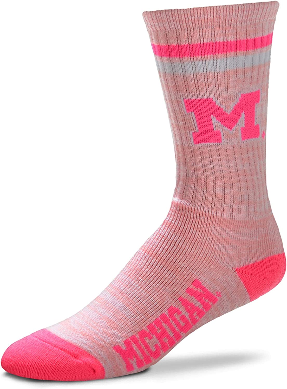 NCAA Pretty in Pink Womens Crew Socks For Bare Feet