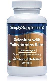Selenio 220 mcg con Multivitaminas y Hierro - 360 comprimidos - hasta 1 año de suministro