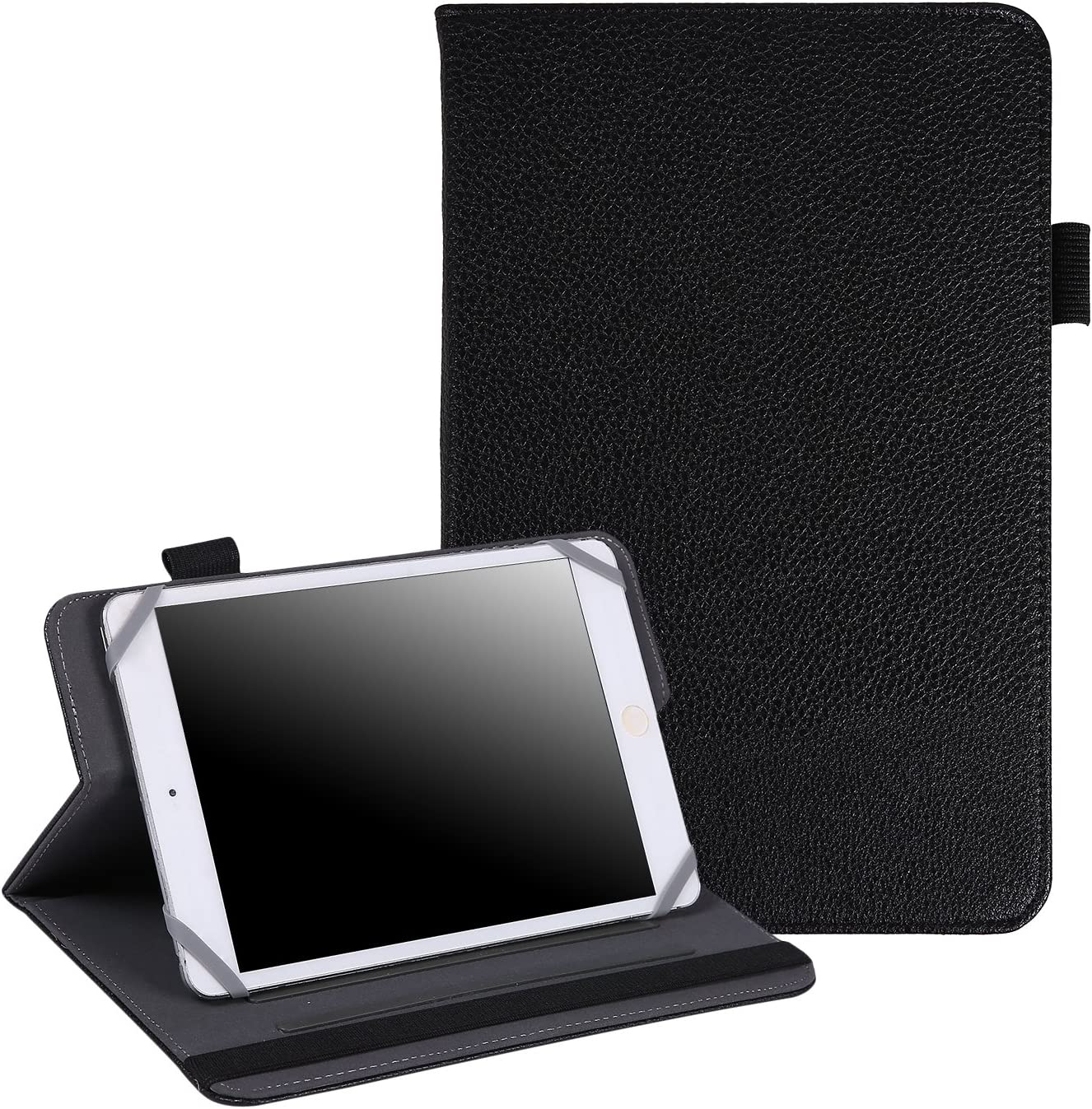 "HDE 7""-8"" Tablet Case Universal Protective Folio Stand Cover for iPad Mini 7-8"" Touchscreen Tablets (Black)"