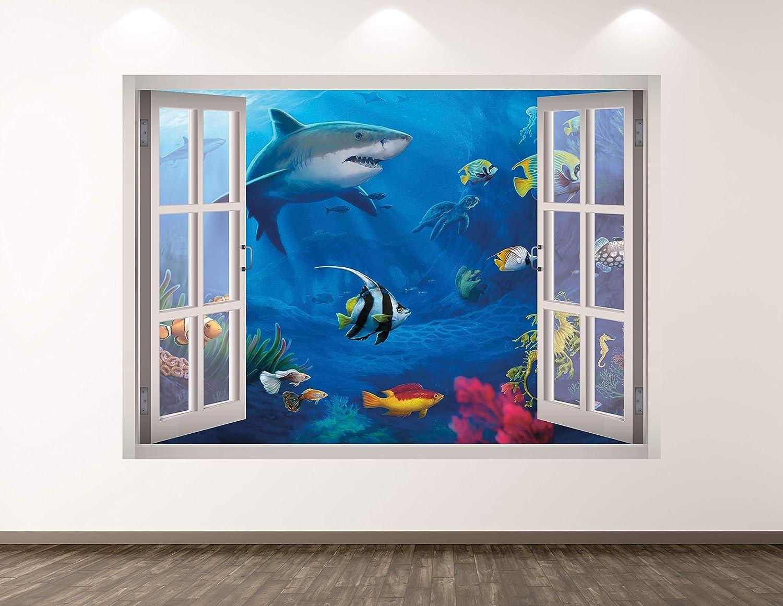 """West Mountain Shark Wall Decal Art Decor 3D Window Aquarium Sticker Mural Kids Room Custom Gift BL55 (22"""" W x 16"""" H)"""