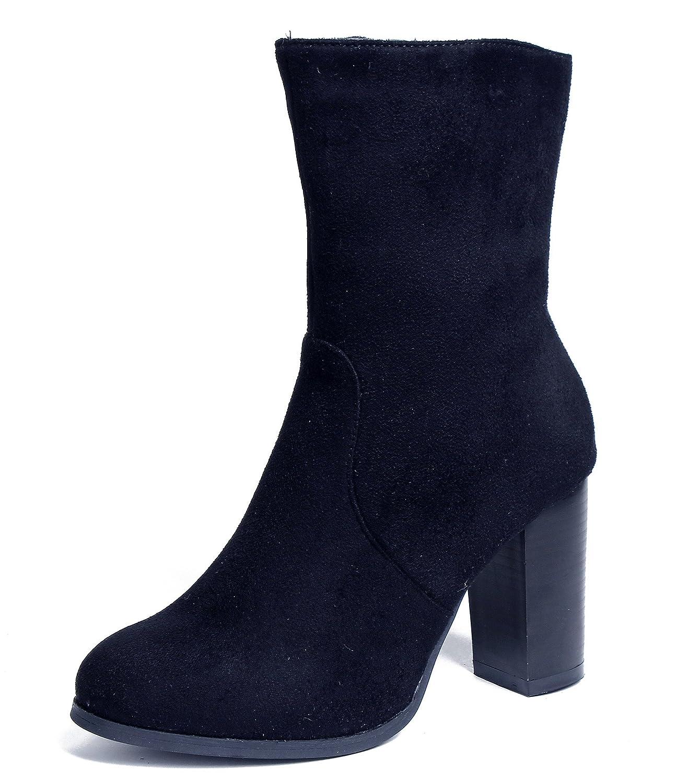 AgeeMi Shoes Damen Blockabsatz Wildleder Stiefel Halbschaft Stiefel  37 EU|Schwarz