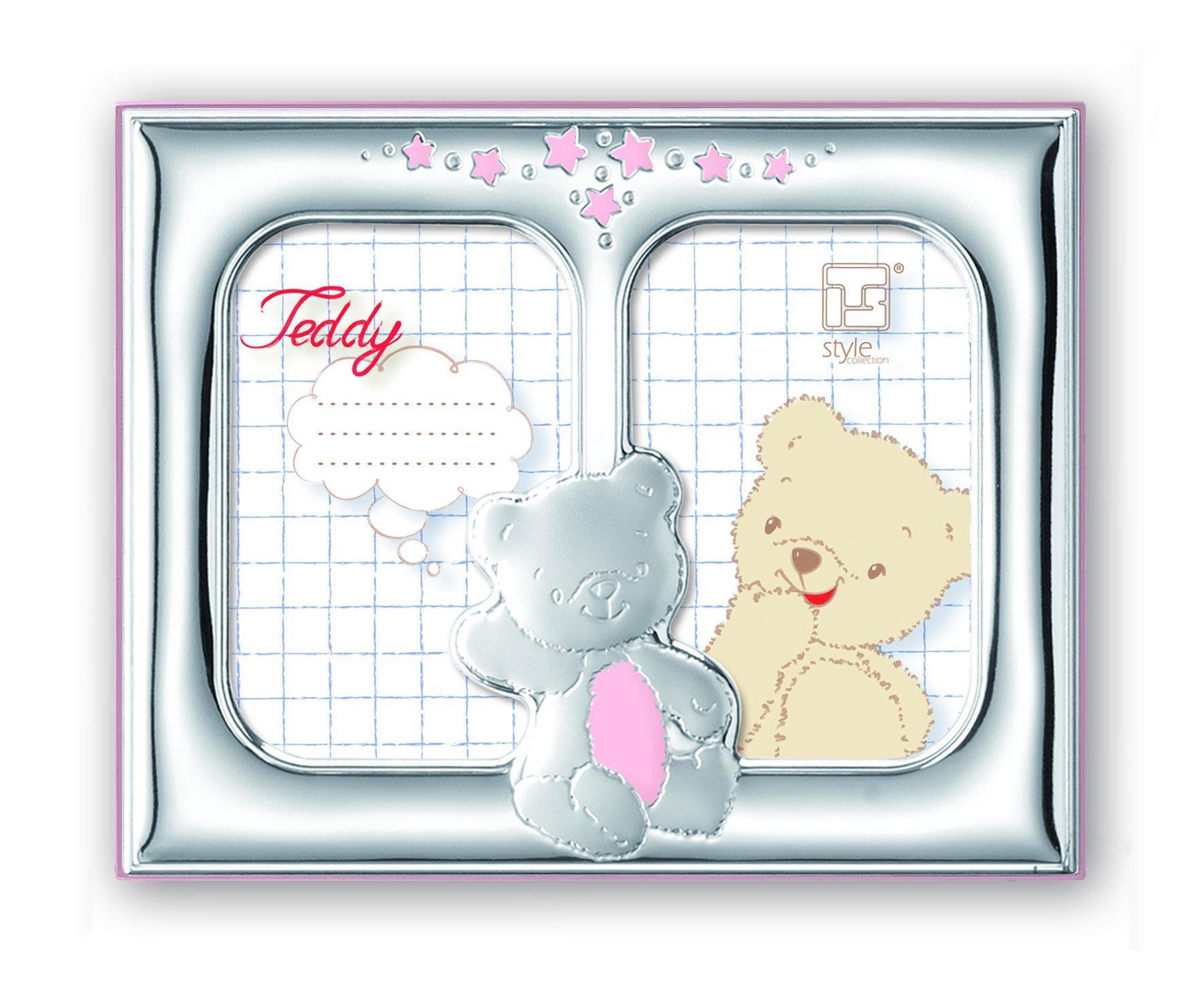 Silver Touch USA Gorgeous Sterling Silver Double Picture Frame, Pink Teddybear