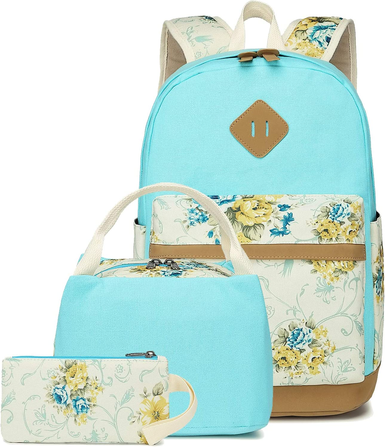 School Backpacks for Teen Girls Lightweight Canvas Backpack Bookbags Set (Light Blue-1)