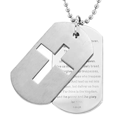 Stainless steel bible verse lords prayer cross necklace with double stainless steel bible verse lords prayer cross necklace with double dog tag pendants with 24quot audiocablefo