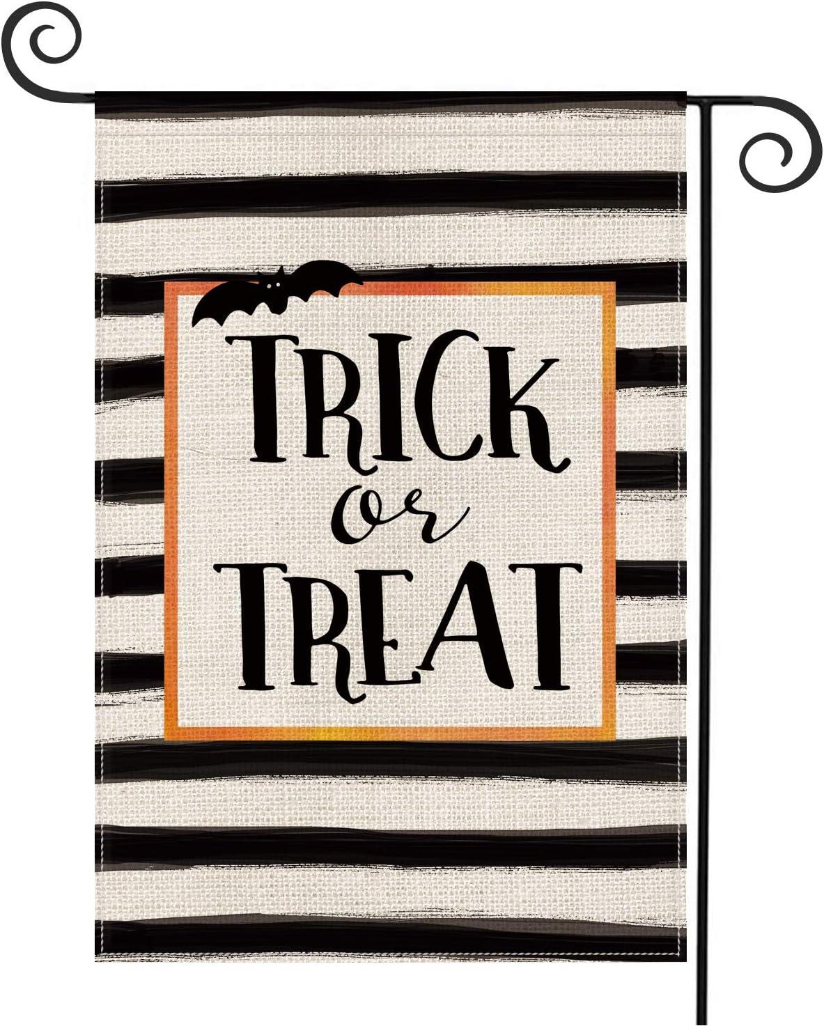 AVOIN Trick or Treat Garden Flag Vertical Double Sized, Halloween Burlap Yard Outdoor Decoration 12.5 x 18 Inch