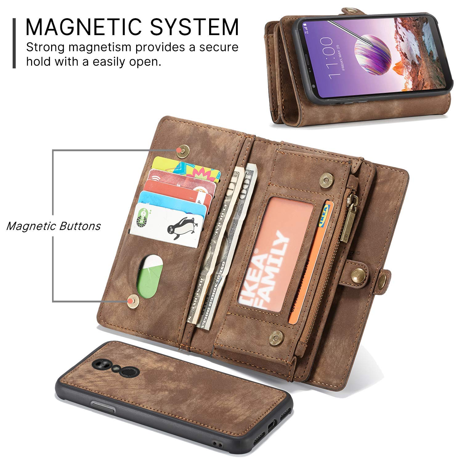 Retro Zipper Purse Detachable Magnetic Case Cover with Flip Credit Card Slots Shockproof Smart Wallet Case for Moto E5 Play Spritech Moto E5 Play Wallet Case,Motorola Moto E5 Cruise Case