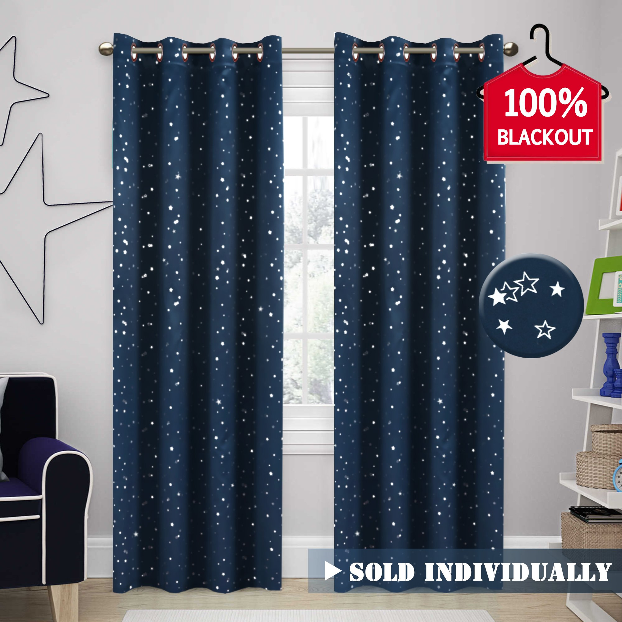 H.VERSAILTEX 100% Blackout Star Curtains for Boys Room Thermal Insulated Kids Room Curtain Primitive Star Curtains (Sold by 1 Panel), 52 inch Width by 84 inch Length