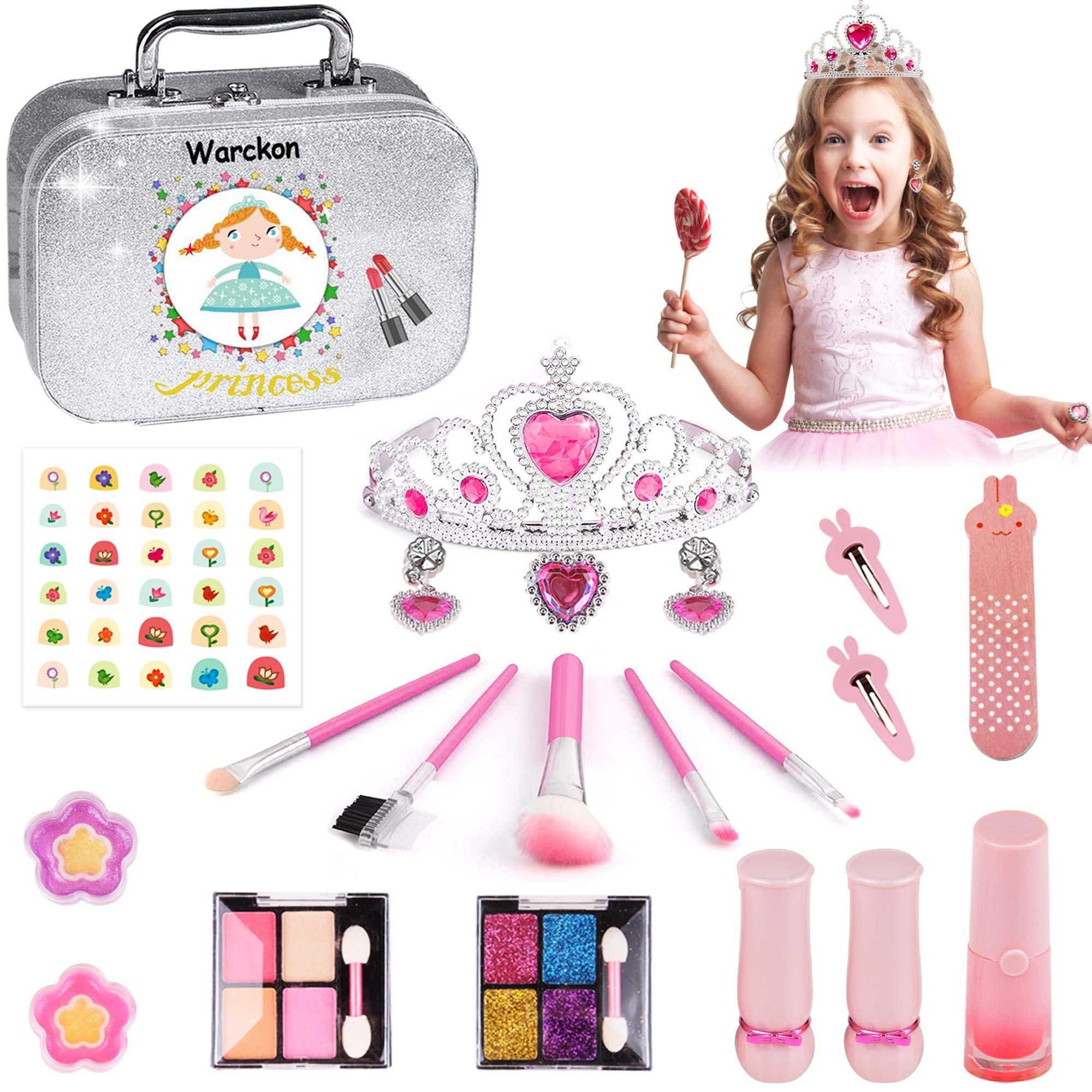 Rawskro Kids Makeup Kit for GirlsReal Washable Makeup Set Toys with Princess