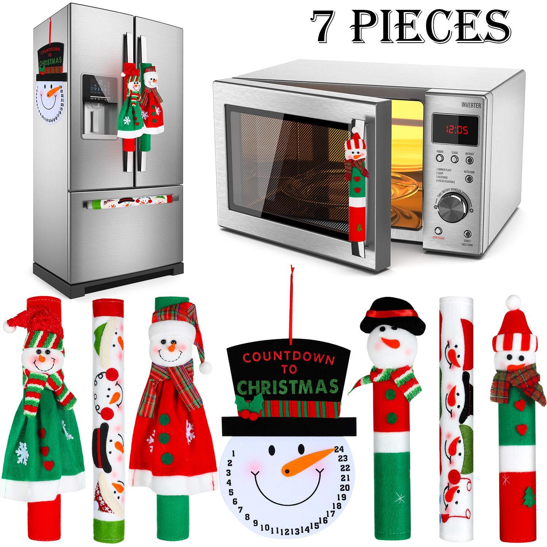 Gejoy 7 Pieces Christmas Refrigerator Handle Covers Set Snowman Refrigerator Door Handle Covers and Snowman Advent Clock Calendar for Christmas Kitchen Appliance Handle Decorations