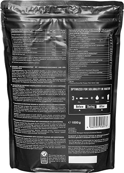 Vegan Protein 3K de nu3 – 1Kg sabor Coco – Batido de proteína vegetal sin soja – Mezcla en polvo de proteína vegana (73%) – De 4 componentes: arroz, ...