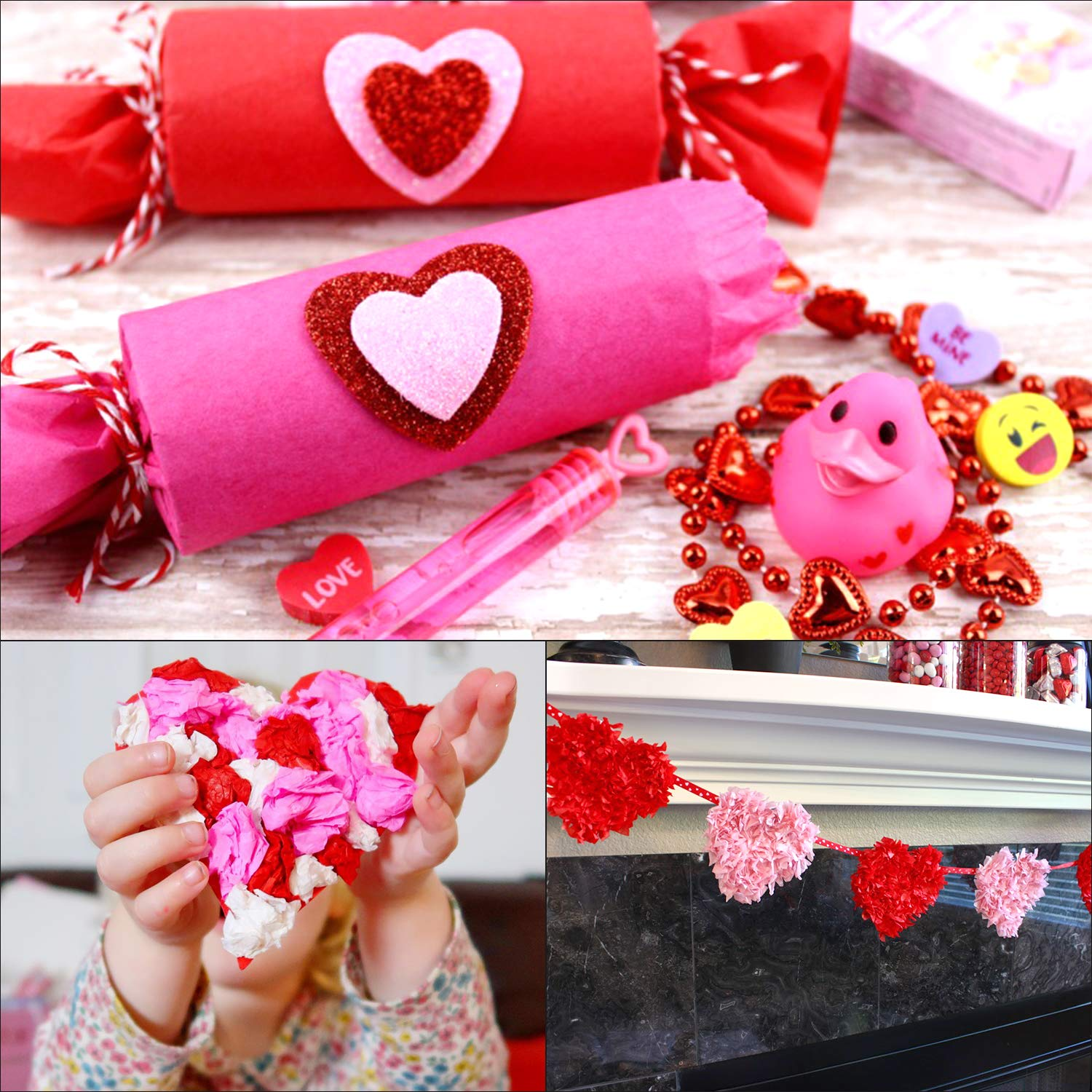 FEPITO 60 Sheets Valentines Day Multicolor Tissue Paper with A Roll of Valentine Hearts Ribbon Bulk Wrapping Tissue Paper 20 x 26 for Art Craft Floral DIY Valentine Party Decorations Supplies