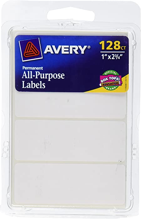 Avery All-Purpose Labels, 1 x 2.75 Inches, White, Pack of 128 (6113)