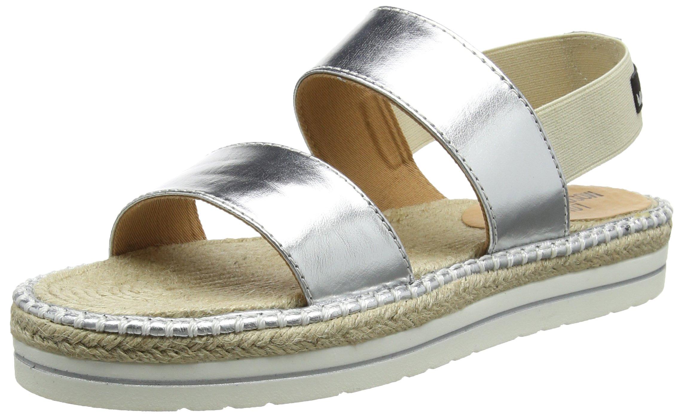 Love Moschino Women's Ja28052g03ja0700 Espadrille Sandal, Silver Lame PU, 37 EU/7 M US