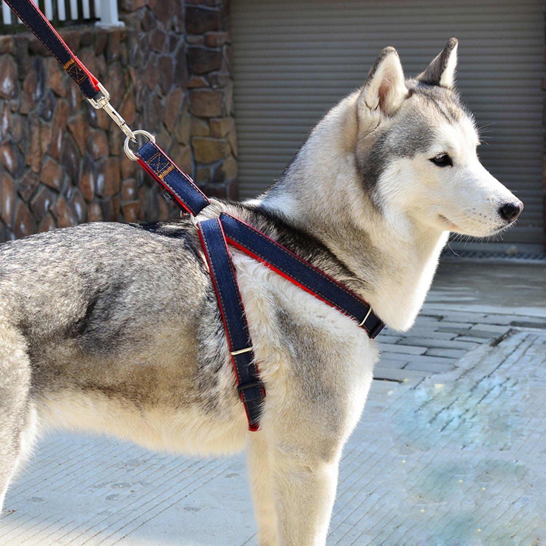 Aodoor Laisses Ceinture de sécurité Pour Chien Fashion Réglable Pet Dog Harnais Corde de Traction L Rouge