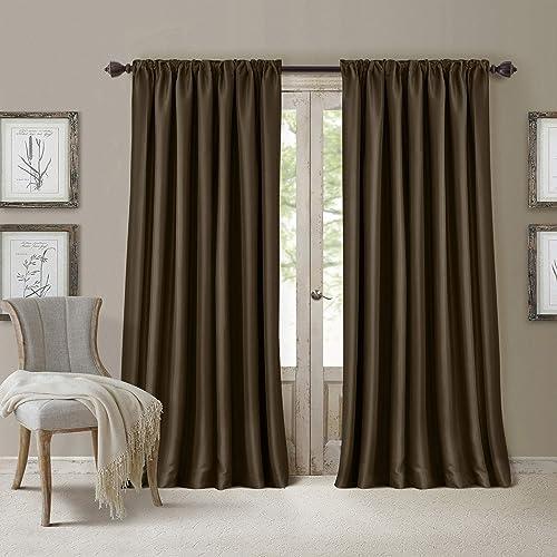Elrene Home Fashions All Seasons Energy Efficient Room Darkening -Rod Pocket Window Panel, 52 x 108 1 , Chocolate Brown