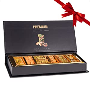 Anabtawi Assorted Sweets Premium Gift Box - Baklava, Pistachio and Almond - Authentic Middle East Sweets - Elegant Gift Box (Assorted, Small)