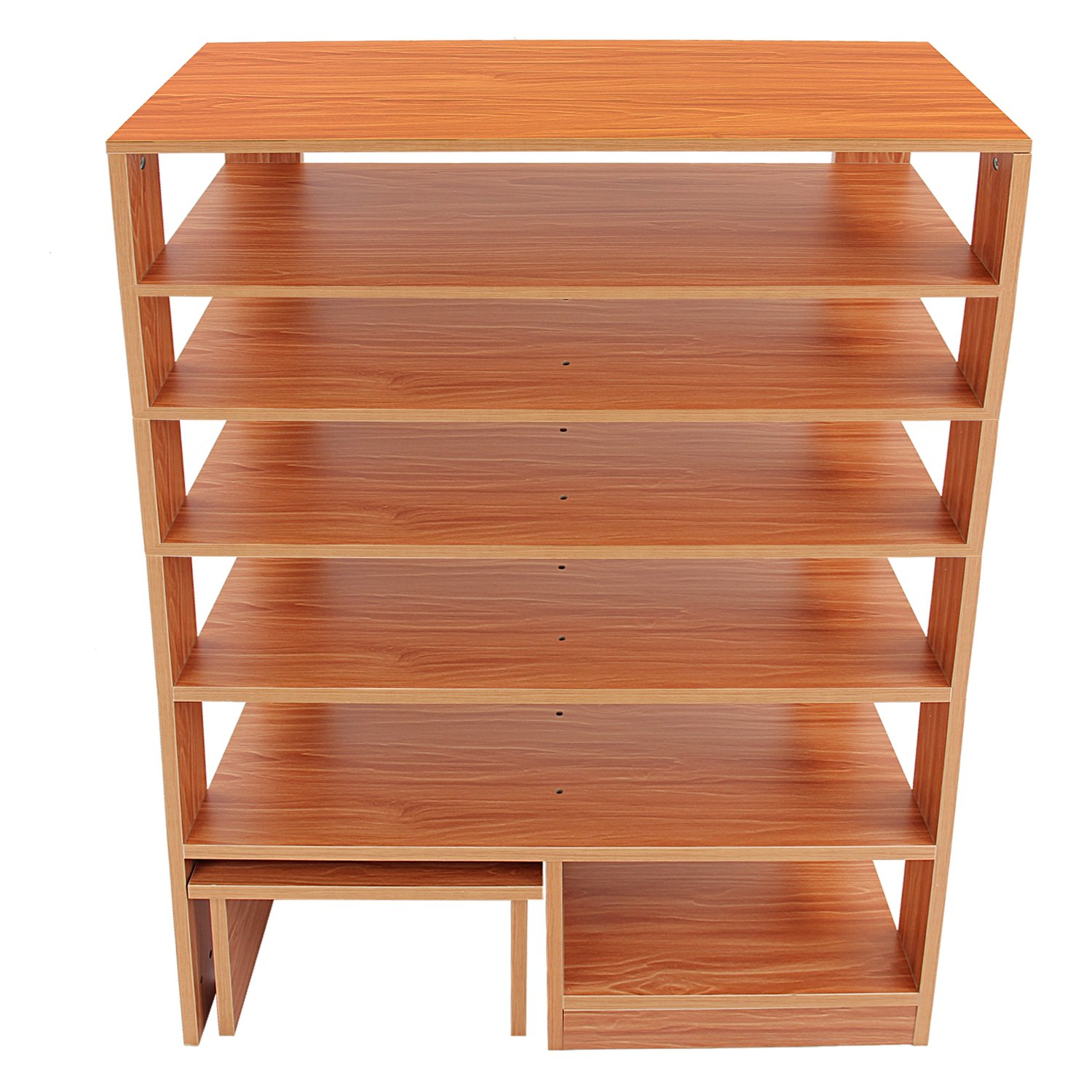 Jerry & Maggie - 6 Tier Wood MDF Solid Shelf Shoe Rack with One Footstool/Shoe Storage Shelves Free Standing Flat Shoe Racks Classic Style -100% Multi Function Shelf Organizer - Natural Wood Tone by Jerry & Maggie (Image #6)