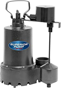 Superior Pump 92541 1/2 HP Cast Iron Sump Pump with Vertical Switch