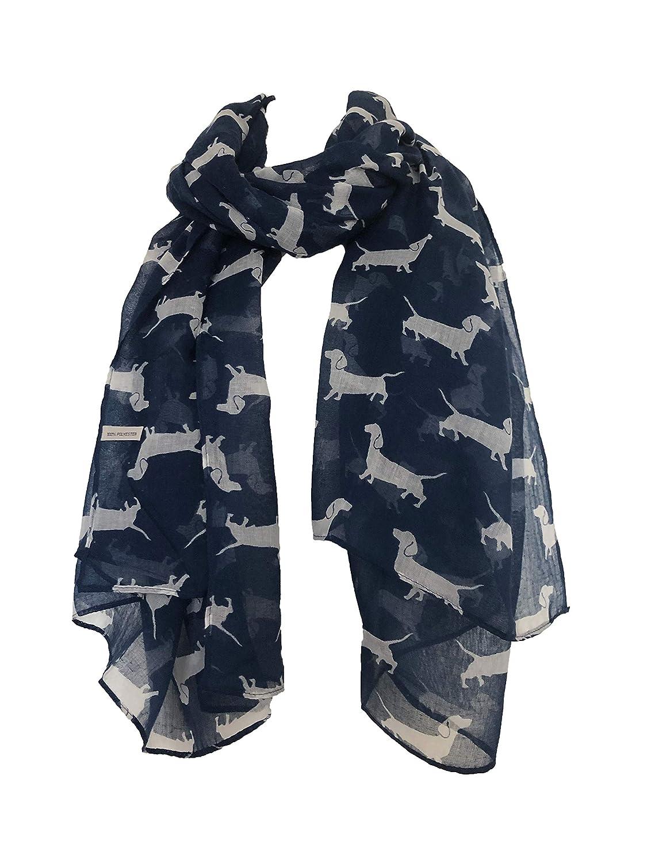 Bufanda azul marino con el modelo perro salchicha blanco. Bufanda larga suave. Señoras de la moda de Londres. -- Navy blue with white dachshund pattern long Scarf, Soft Ladies Fashion London.