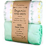 Luvberries Baby Bjorn Travel Crib Sheets (Set of 2) - 100% Organic Cotton Crib Sheets, Baby and Toddler, Fitted Crib Sheets, for Boys & Girls (Yellow and Green)