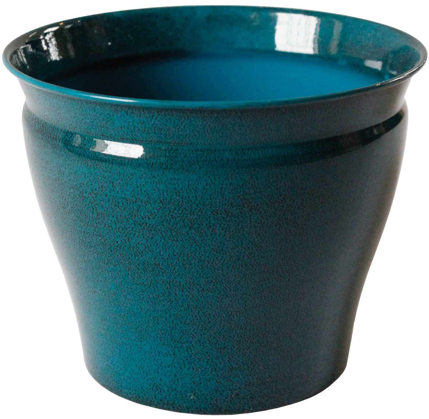 Robert Allen MPT01601 Avery Classic IronStone Metal Planter Flower Pot, 10'', Bold Mountain Waves Color