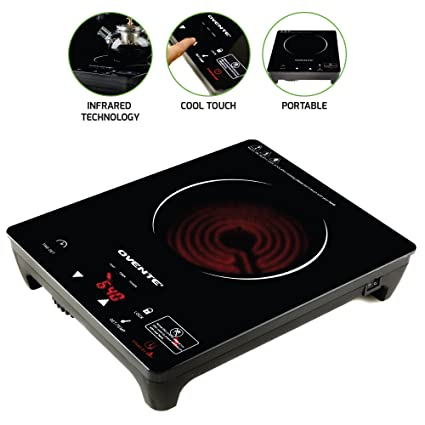 Ovente Infrared Countertop Burner, Cool-Touch Ceramic Glass Cooktop with  Temperature Control, Timer, 1200-Watts, Digital LED Touchscreen Display,