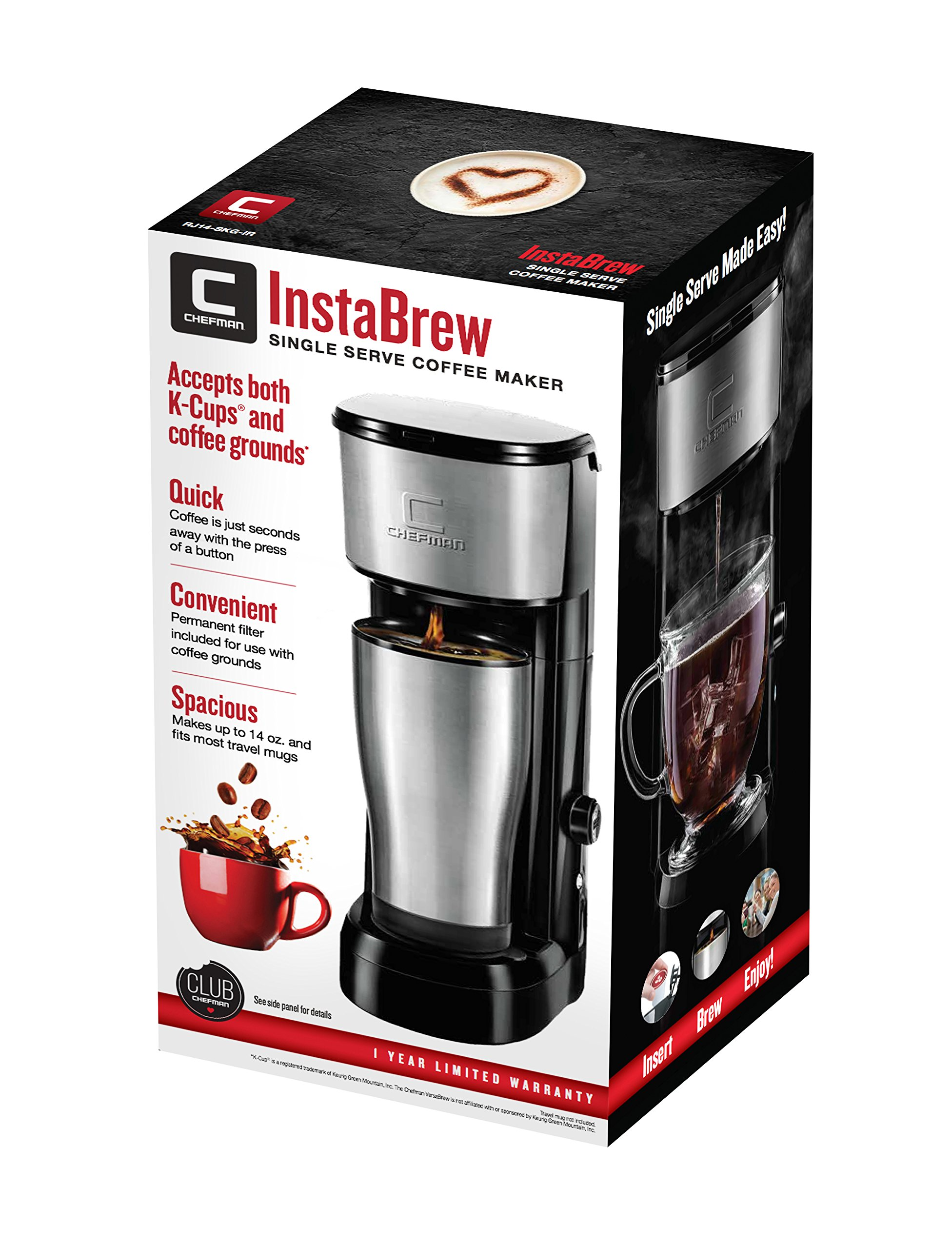 Chefman Coffee Maker K-Cup InstaBrew Brewer - Free Filter Included For Use With Coffee Grounds - Instant Reboil - Single Serve-Mug NOT Included by Chefman (Image #7)
