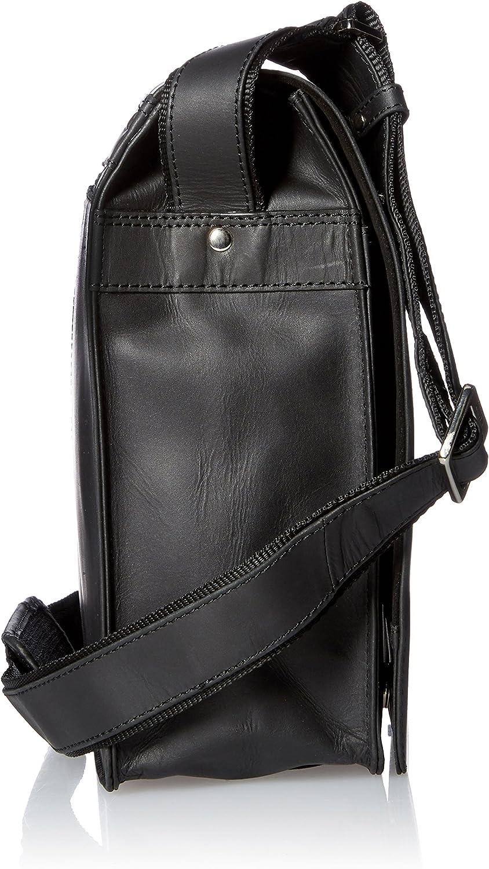 Nuevo Visconti Vintage Estilo Hunter Oil Cuero Negro Maletín Messenger Bag