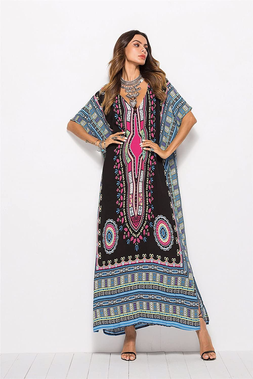 Alltops Women Long Tunic Dress Kaftan Floor Full Length Dress Batwing 3//4 Sleeve Plus Size Summer Dress