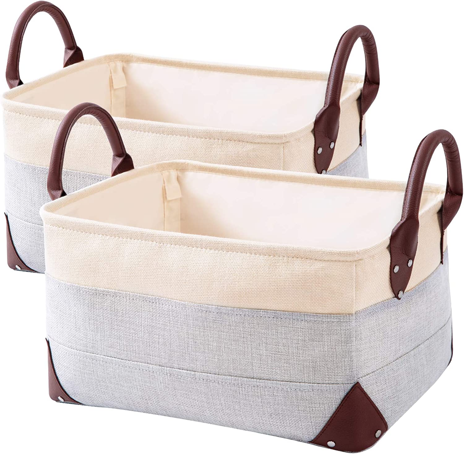 2 Pack Collapsible Storage Bin - Natural Linen Fabric Storage Basket with PU Leather Handles for Home Office Organizing Linen Closet Organizer -16 x 12 x 8.3 inches (Beige+Gray)