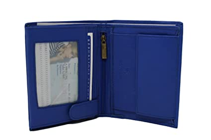 Frédéric Johns® - Grand portefeuille en cuir de vachette véritable très pratique avec 4 volets - 10 emplacements pour cartes - cuir grainé souple qualité - homme ou femme - Idée cadeau (Violet) 0ilfJ