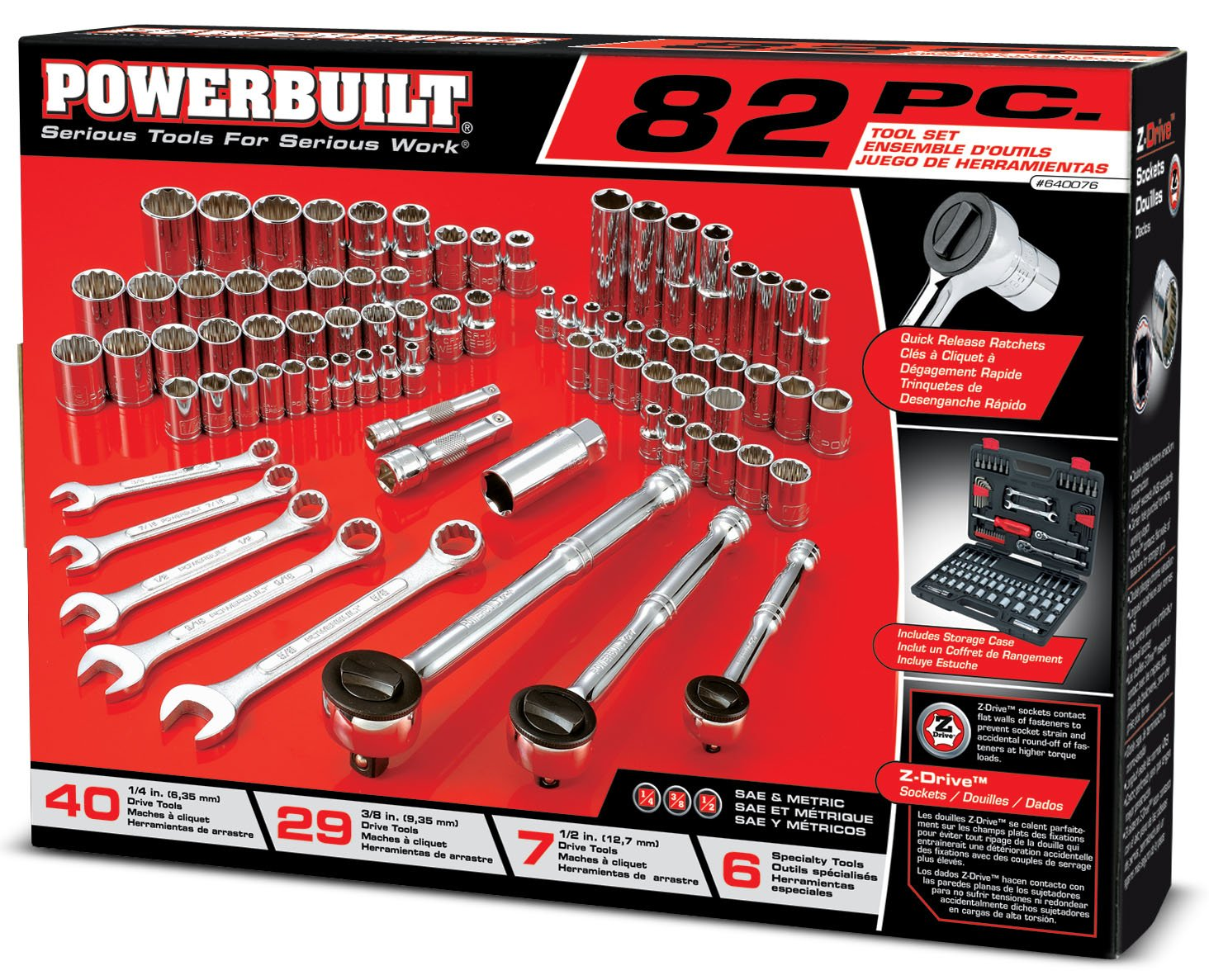Powerbuilt 640076 SAE and Metric Mechanics Tool Set 82 Piece